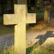 Ancient cemetery with a cross in the evening sun - Hoppenlau Stuttgart — Stock Photo