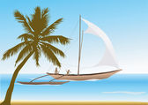 A catamaran sails in front of a palm beach. — Stock Vector