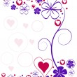 Vector background with hearts and flowers — Vector de stock