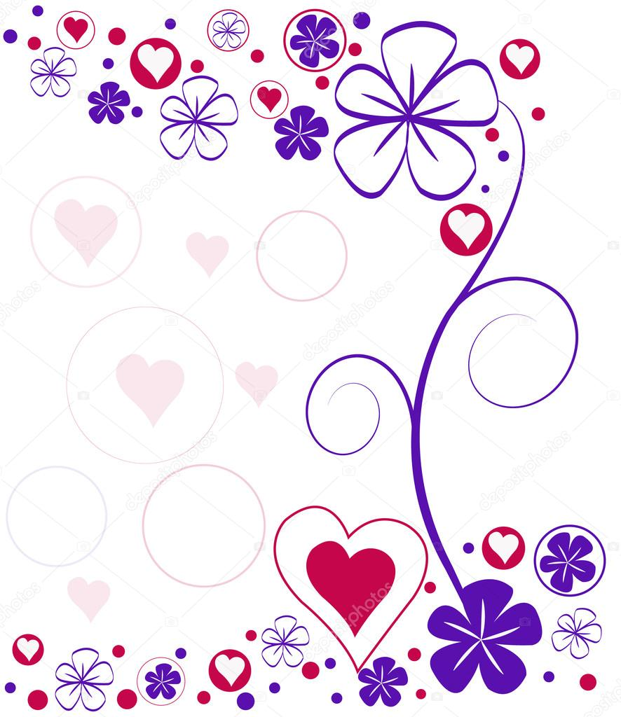 vector background with hearts and flowers — Stock Vector #20290225
