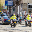 Police on motorbikes in citycenter escorting royal princess Beatrix — стоковое фото #26005713
