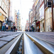 View of tramtrack in Amsterdam — Stock Photo