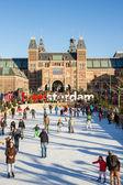 Buz pateni pisti amsterdam'da rijksmusem önünde — Stok fotoğraf