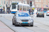 Taxi driving trough Amsterdam — Stock Photo