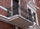 Traditional balcony and facade of historical. — Stock Photo