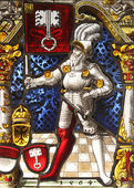 The historic stained glass. Knight. — Stock Photo
