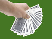 Hand full of cards — Stock Photo