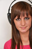 Girl with headphone — Stock Photo