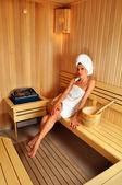 Girl in sauna — Stock Photo