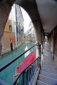 Venetian gondola moored — Stock Photo
