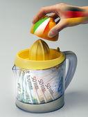 Talian economy crushed from Angela Merkel — Stock Photo