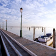 Lakefront walk in burano venice diagonal lines — Stock Photo