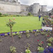 Stock Photo: Gardener at work in the park of a Scotland Castle