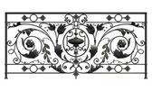 Black forged decorative lattice isolated on white background — Stock Photo