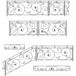 Vector set: wrought iron stairs railing, fence and grilles - Stock Vector