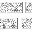 Vector set: wrought iron fence and grilles - Stock Vector