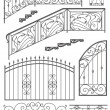 Stock Vector: Vector set: wrought iron wicket, stairs railing, fence and windo