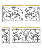 Vector wrought iron modular railings and fences — Stock Vector