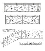 Vector set: wrought iron stairs railing, fence and grilles — Stock Vector
