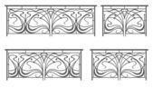 Vector set: wrought iron fence and grilles — Vector de stock