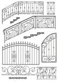 Vector set: wrought iron wicket, stairs railing, fence and windo — Stock Vector