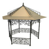 Wrought iron gazebo with flowers and leaves — Stock Photo