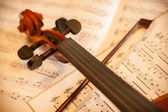 Violin with bow — Stock Photo