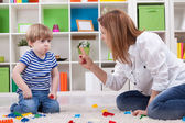 Angry mother scolding a disobedient child — Stock Photo