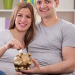 Smiling couple putting coin — Stock Photo #42236001