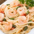 Shrimp Scampi with Asparagus — Stock Photo