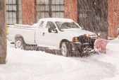 Truck Plowing Snow — Stock Photo