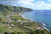 Azores, Santa Maria, Praia Formosa - rocky coastline, beach with white sand — Stock Photo