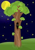 Night Tree — Stock Vector