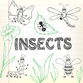 Insects doodles — Stock Vector