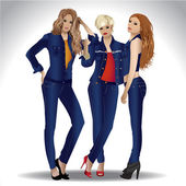 Three stylish girls in jeans clothes — Stock Vector