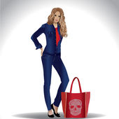 Stylish girl in jeans clothes with red bag with skull — Stock Vector