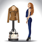 Stylish girl in jeans clothes standing near mannequin in leather jacket and bag — Stock Vector