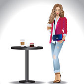 Stylish girl in jeans clothes drinking coffee — Stock Vector