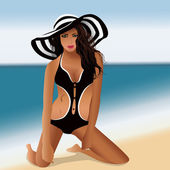 Girl in swimsuit at the beach — Stock Vector