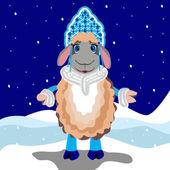 Winter Sheep — Stock Vector