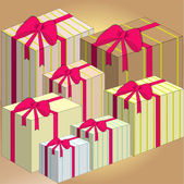 Gift box with pink bow — Stock Vector