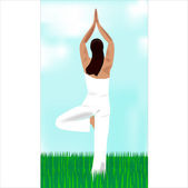 The girl meditates and practices yoga zen — Stock Vector