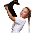 Beauty children girl with dog puppy mini toy terrier — Stock Photo #28367665