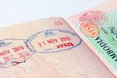 Cambodia immigration stamp in passport — Stock Photo