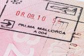 Mallorca stamp in passport — Stock Photo