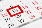 Calendar page with selected friday 13 — Stock Photo