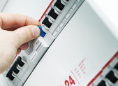 Closeup view of a box with automatic fuses. — Stock Photo