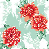Seamless peony design green and red — Stock Photo
