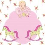 Baby girl card with text frame — Stockvektor