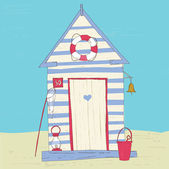 Colorful Beach Hut . — Vector de stock